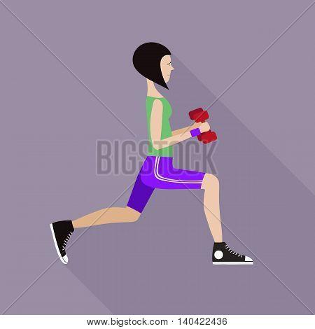 Vector illustration of the girl doing fitness.