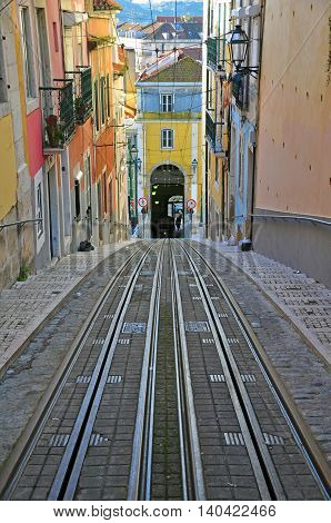 Waiting for funiculars in Lisbon city centre, Portugal