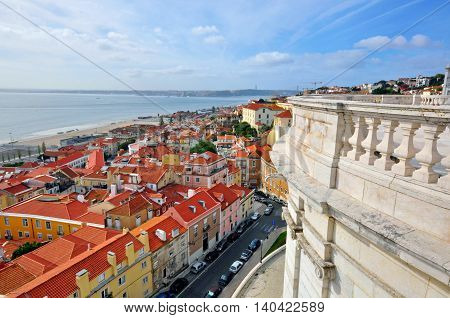 Lisbon cityscape Portugal. magic view from the dome of Pantheon