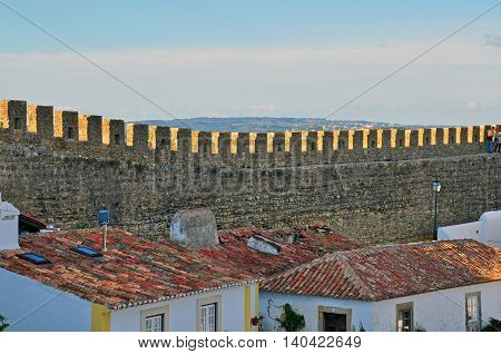 Wall of Obidos historical town in Portugal