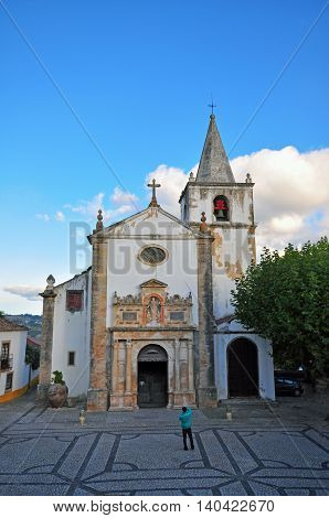 Old church of Obidos town in Portugal
