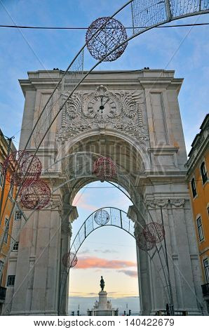 Arch of Augusta. Christmas weeks in Lisbon Portugal