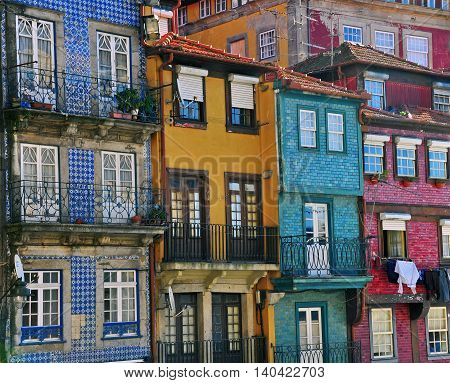 Colorful houses of Porto Ribeira in Portugal