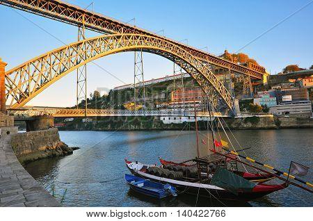 Bridge of Dom Luis on sunset. Porto Portugal