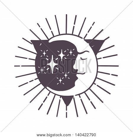 Moon logo design space symbol illustration. Creative moon logo abstract design sign star circle astronomy symbol. Galaxy science planet template night logo. Full moon light satellite.