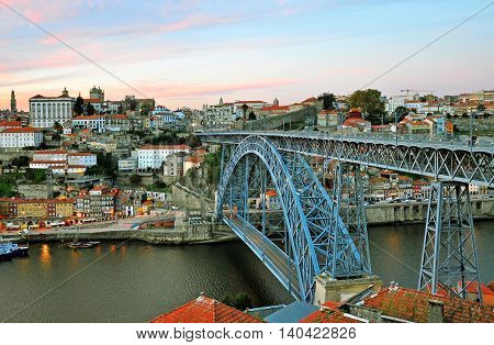 Oporto cityscape on sunset, city of Portugal