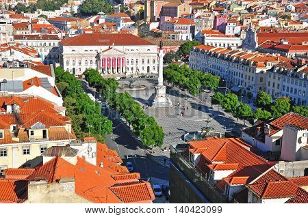 LISBON PORTUGAL - NOVEMBER 15: Restaradores square in Lisbon on november 15 2013. Lisbon is a capital and the largest city of Portugal.