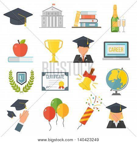 Education school graduation icons set on white background. Graduation education university school college cap student. Vector graduation education success diploma academic symbols.