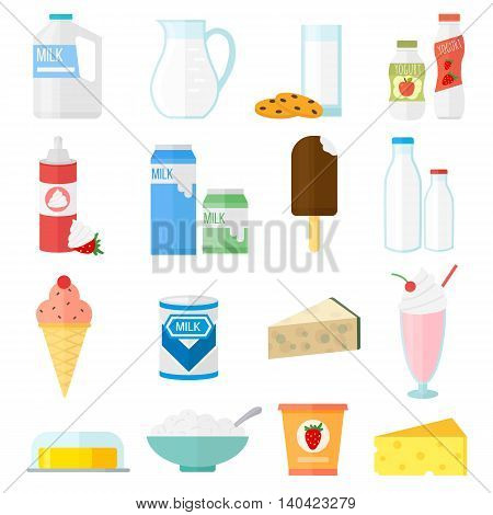 Milk products collage collection dairy products on white background. Milk products healthy drink, organic fresh yogurt bottle. Vector milk products breakfast diet group yoghurt calcium food set.