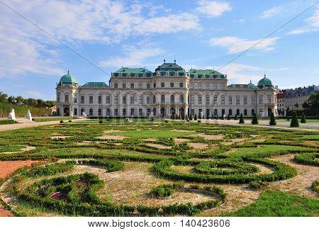 Baroque palace Belvedere in Vienna city, Austria