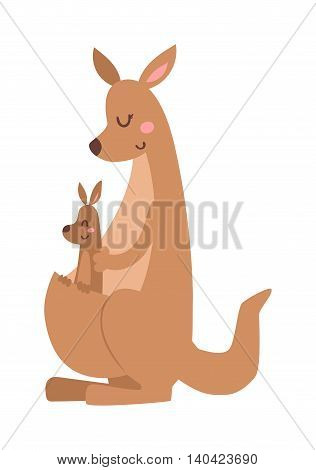 Wildlife kangaroo australia cartoon mammal and kangaroo cartoon character baby kid vector. Cute kangaroo cartoon australia animal flat vector illustration.