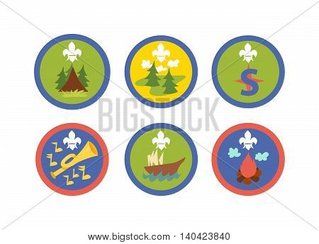 Scout symbols and scout signs design camp elements. Outdoor scout signs mountain emblem and tent recreation label park scout signs. Expedition icon scout signs stamp campfire adventure.