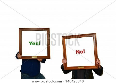 Two men holding picture frame with the word yes - no