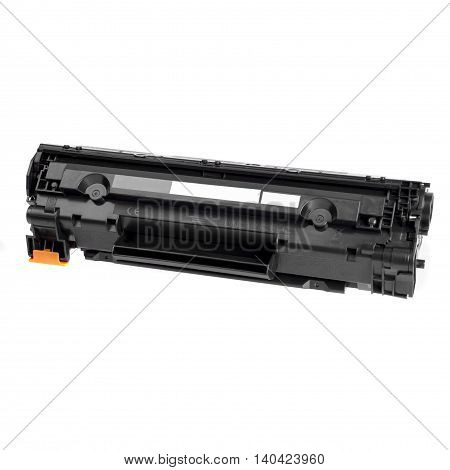 Cartridge for laser printer toner filled, ready to use on a white background
