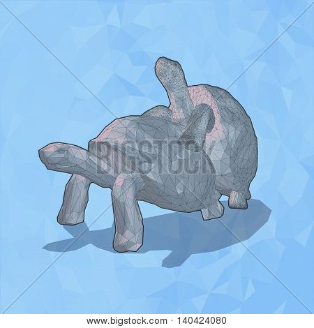 Low poly tortoise breed on blue ice background