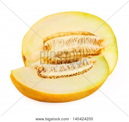 Half of melon with a slice isolated on white background