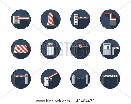Road closed equipment and signs. Striped barriers, plastic and concrete blocks, stoppers and other samples of traffic control objects. Round flat color style vector icons collection.