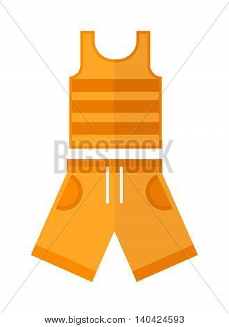 Shorts and shirt, boys wear, summer clothes isolated on the white background. Flat vector summer clothes childrens wear, summer clothes, Summer clothes and fabric summer clothes.