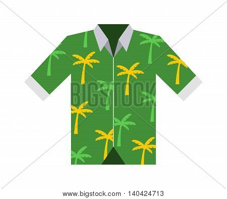 Hawaiian aloha shirt. Vector illustration hawaii shirt and fashion hawaii shirt aloha beach male cloth. Hawaii shirt adult clothing pattern design and modern flat hawaii shirt textile.