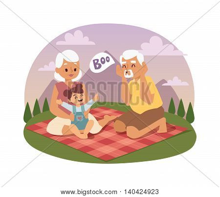 Old people family picnicking summer happy lifestyle park outdoors together, enjoying meadow vacation character vector. Family picnic vacation and summer family picnic. Happy family picnic outdoors.
