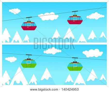 Cableway cabins going above winter time ski resort with people skiing mountains and clouds