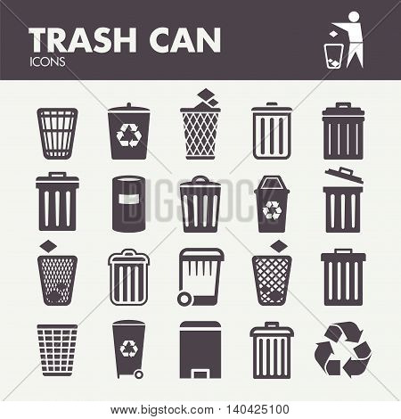 Trash can. Icons set in vector. Recycle bin symbols