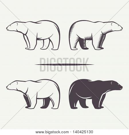Polar bear symbols set. Animal silhouette in vector