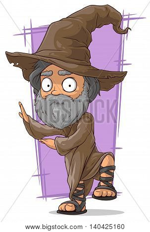 A vector illustration of cartoon old wizard in big hat