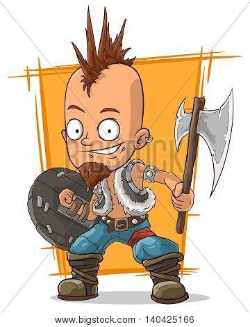 A vector illustration of cartoon postapokalipsis crazy punk