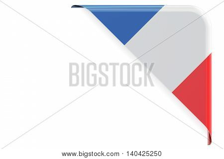 Flag of France. Corner button label. 3D rendering isolated on white background