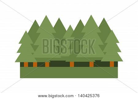 Pine tree vector icons and forest nature symbol. Green pine forest icon and ecology environment graphic forest icon. Eco summer branch design forest icon and natural style growth organic forest icon.