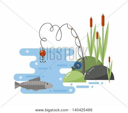 Fishing landscape fisherman with rod enjoying nature and fishing landscape travel outdoor leisure. Fishing landscape river, travel, summer, outdoor relaxation hobby sport. Water nature lake.