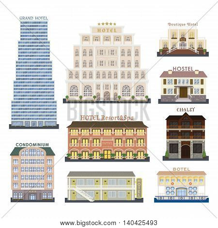 Real estate design hotel buildings and hotel buildings vector set. Hotel buildings architecture city and urban hotel buildings modern exterior symbol town. Hotel buildings perspective graphic center.