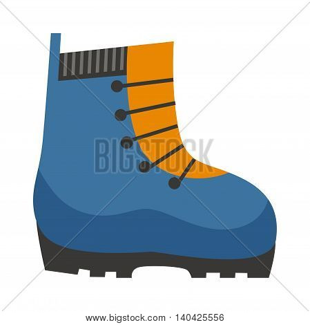 Pair of old yellow working travel boots isolated on white background and travel boots hiking adventure footwear. Vector travel boots and brown journey leather fashion travel boots.