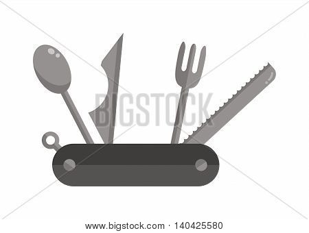 Camping travel jackknife multi tool steel blade pocket equipment vector icon. Camping ttravel jackknife and opener jackknife. Camp jackknife multi tool steel knife. Multi Tool steel compact jackknife