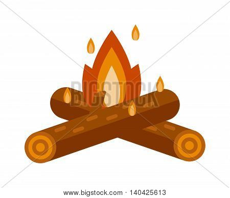 Isolated illustration of campfires logs burning bonfire. Bonfire on white background. Vector bonfire isolated and wood explosion glowing bonfire isolated. Red nature burning blazing power vector.