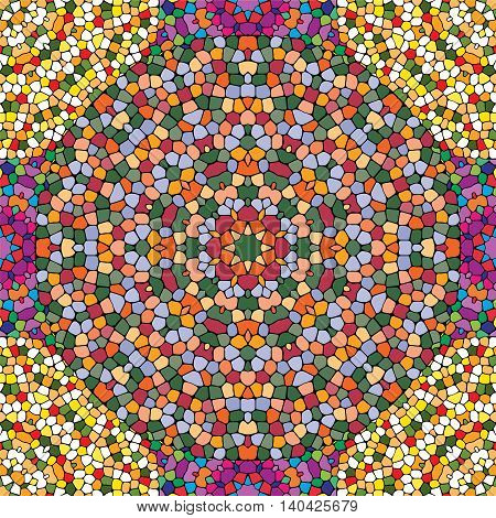 Seamless pattern of round mosaics. Bright colors. Vector illustration.