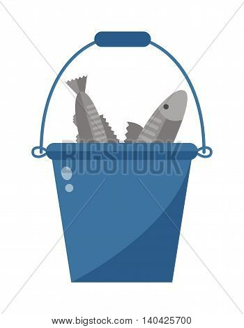 Illustration of bucket of fish on white background and bucket with fish vector animal catch seafood. Fresh sea pail container bucket with fish and blue plastic fishing recreation equipment.