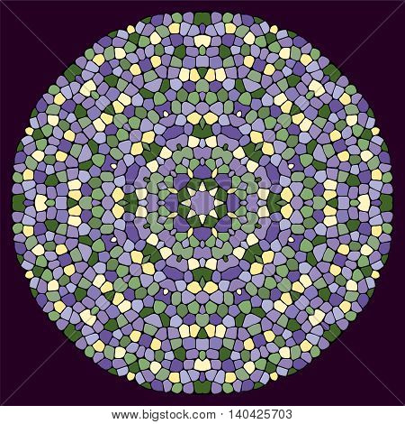 Abstract mosaic mandala. Gentle colors. Texture of ceramic tiles.