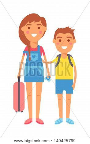 Travel kids little boy and travel kids toddler girl standing with suitcases ready to travel, kids travel concept. Vector travel kids characters and travel kids summer vacation tourism.