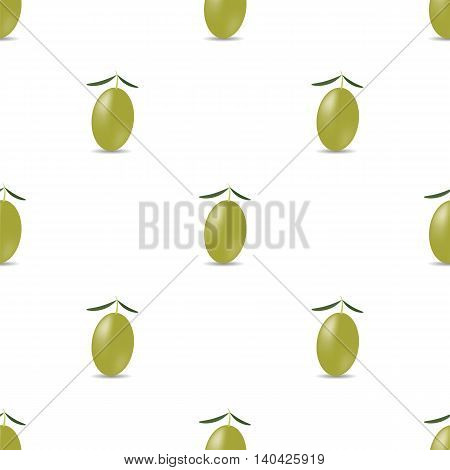 Green Olives Isolated on White Pattern. Seamless Pattern