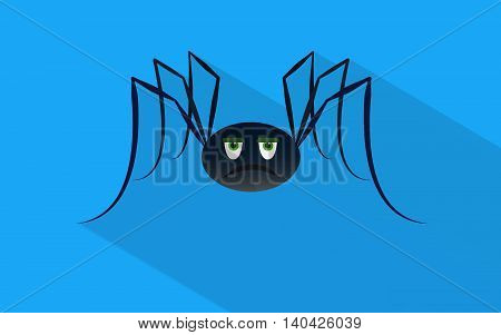 Sad spider with shadow in material design. Vector background.