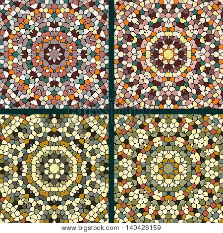 Four abstract mosaic ornament. Red and brown colors. Texture of ceramic tiles.