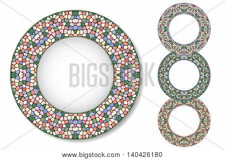 Four abstract mosaic plates. Gentle colors. Texture of ceramic tiles.