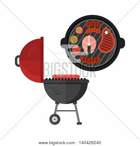 Grilled meat skewers, barbecue grill meat barbecue beef roast food. Vector grill meat steak dinner roast lunch and grill meat cooked pork. Gourmet protein fresh grill meat barbecue grilled food.