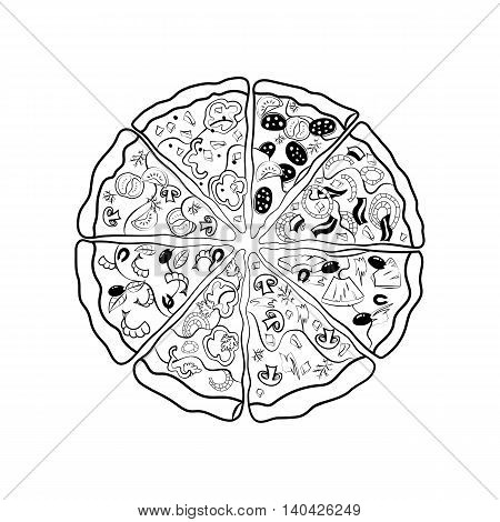 The contours of the different pieces of pizza. Vector illustration.