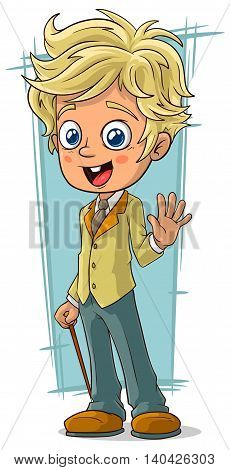 A vector illustration of cartoon pretty young blond boy