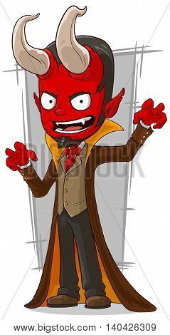 A vector illustration of cartoon red devil in brown cape