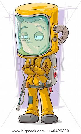 A vector illustration of cartoon scientist in protective gear