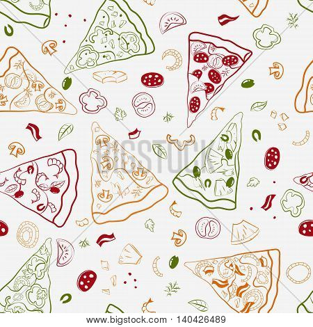Vector seamless texture of image slices of pizza and other ingredients.
